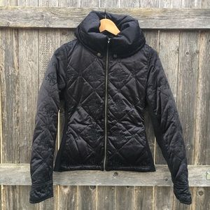 Guess logo black knit & quilted puffer short coat